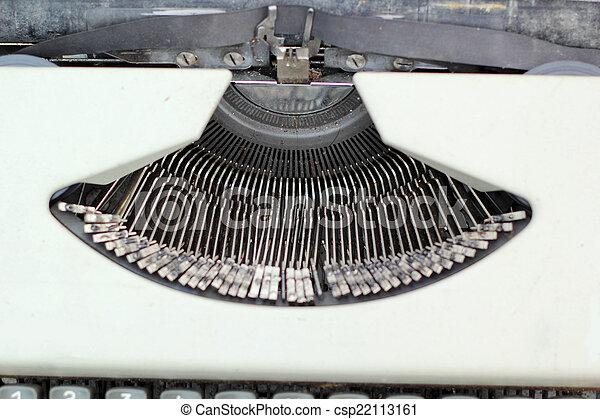 Close up of antique typewriter keys - vintage retro - csp22113161