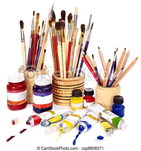 Close up of art utensils.