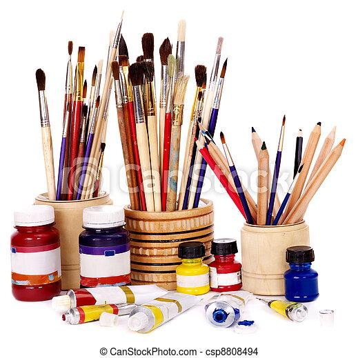 Close up of art utensils. - csp8808494