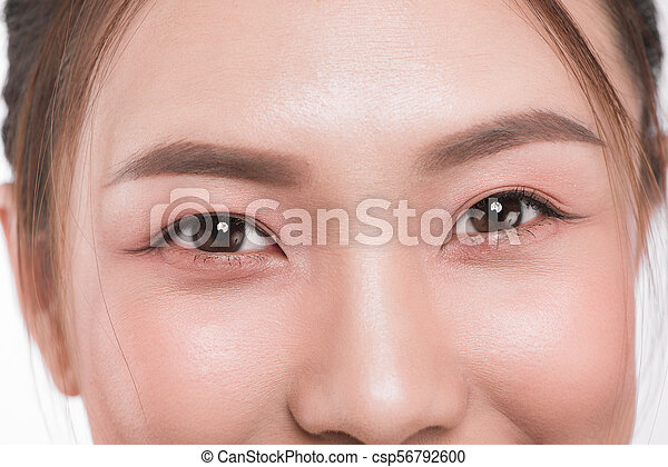 98c84aa9e72 Close up of asian eye woman eyebrow eyes lashes.