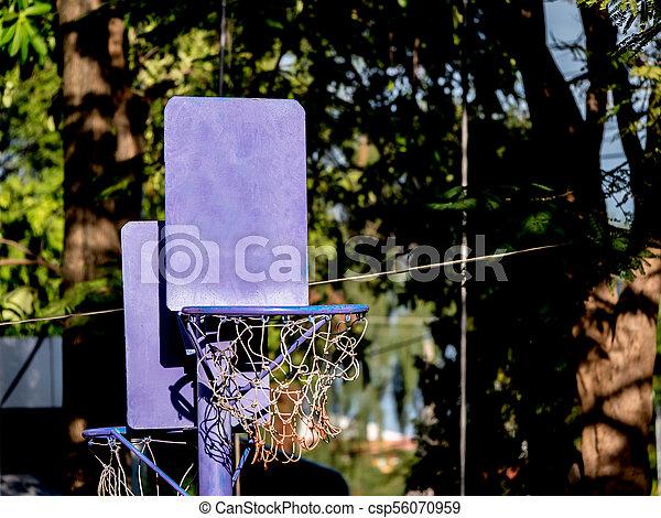 close up of basketball hoop for little children, in the garden - csp56070959