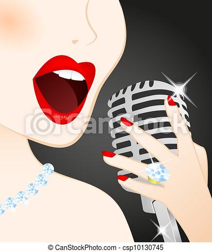Close up of beautiful woman singing - csp10130745