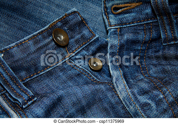 Close up of blue jeans with buttons - csp11375969