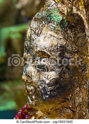 Close up of buddha face gild - csp18431940