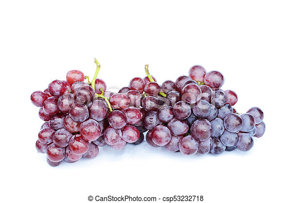 Close up of Bunch of red grapes on white backgrounds - csp53232718