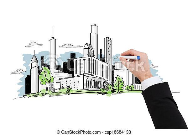 close up of businessman drawing city sketch - csp18684133