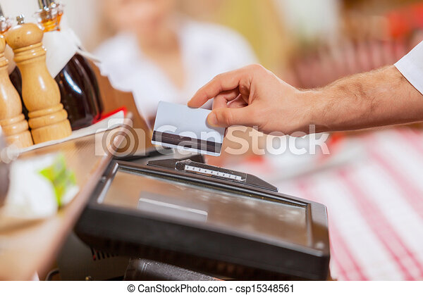 Close-up of cashier hands - csp15348561