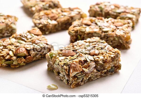 Close up of cereal granola bar