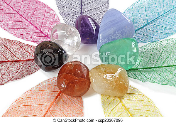 Close up of chakra gemstones - csp20367096