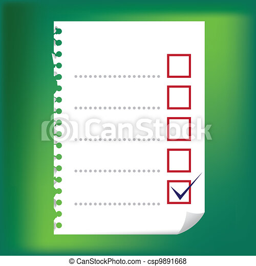 Close up of checkbox notepad paper - illustration - csp9891668