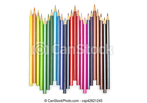 Close up of color pencils on white background - csp42821245