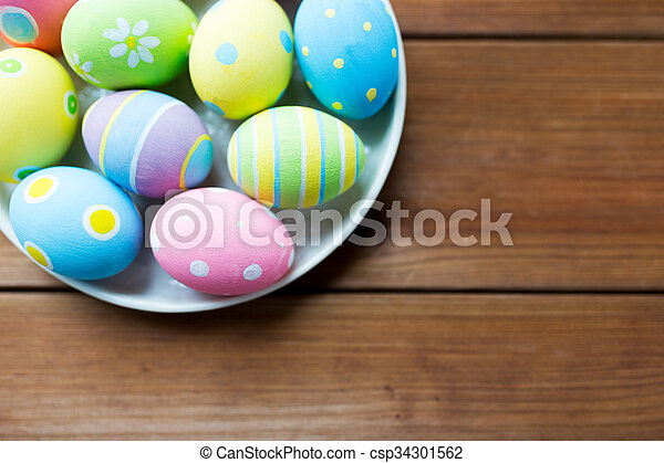 close up of colored easter eggs on plate - csp34301562