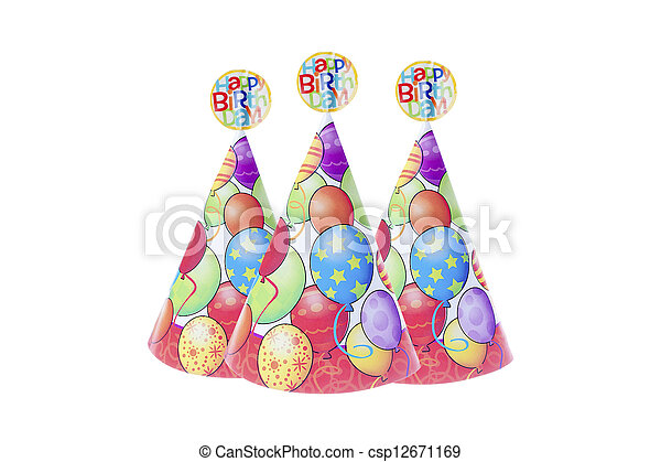 close up of colorful party hats with happy birthday sign image of