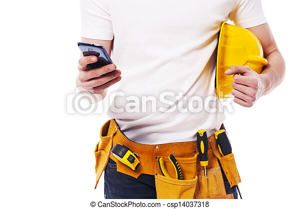 Close-up of construction worker using a mobile phone  - csp14037318