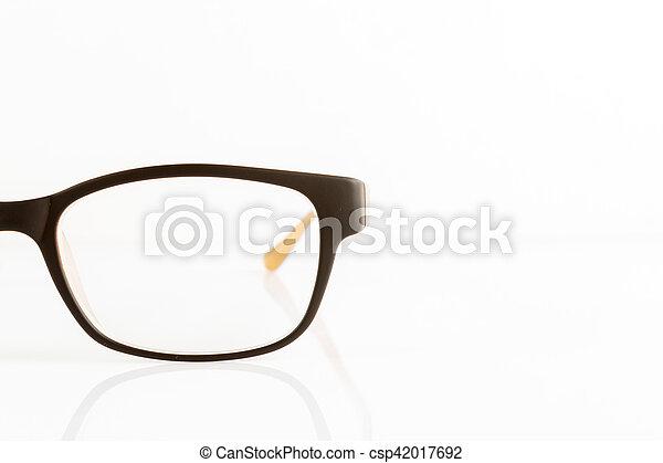 Close up of eyeglasses isolated on white - csp42017692