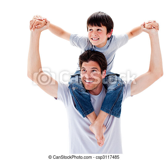 Close-up of father giving his son piggyback ride - csp3117485