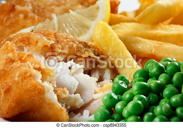 Close up of fish and chips with peas and a slice of lemon.  - csp8943355