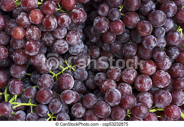 Close up of Fresh Red grape fruits backgrounds above - csp53232875