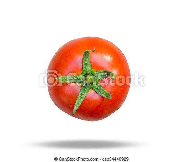 Close-up of fresh, ripe tomatoes on wood background. - csp34440929