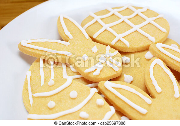 Close up of frosted Easter cookies on a plate - csp25697308