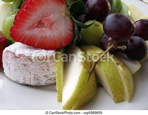 Close-up of Fruit and Cheese Plate - csp5989659 & Close-up of fruit and cheese plate. Close-up of fruit and... stock ...