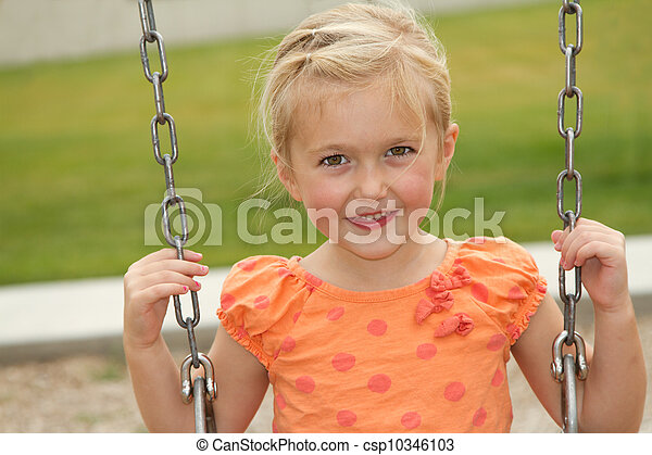close-up of girl on swing - csp10346103