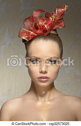 95de955d0 Close-up of girl with xmas make-up . Close-up beauty shoot of ...