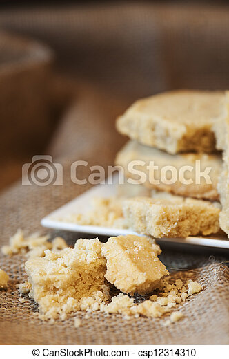 Close up of home baked shortbread biscuit cookies - csp12314310