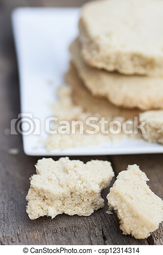 Close up of home baked shortbread biscuit cookies - csp12314314