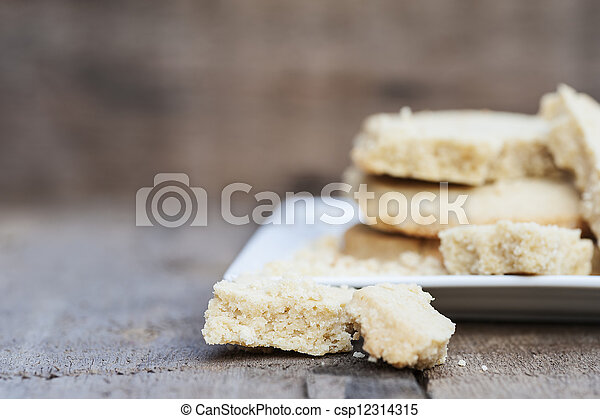 Close up of home baked shortbread biscuit cookies - csp12314315