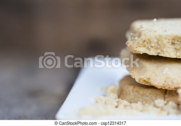 Close up of home baked shortbread biscuit cookies - csp12314317