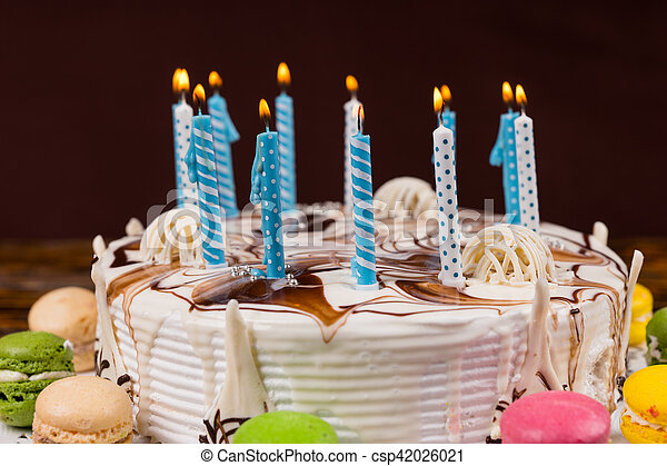 Prime Close Up Of Homemade Birthday Cake With Lots Of Burning Candles Funny Birthday Cards Online Hendilapandamsfinfo