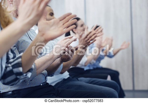Close up of human clapping hands - csp52077583