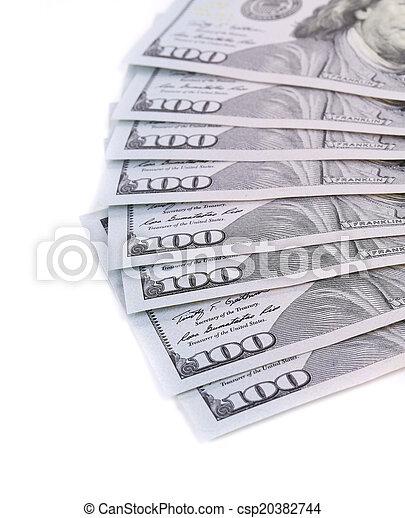 Close-up of hundred dollar banknotes. - csp20382744