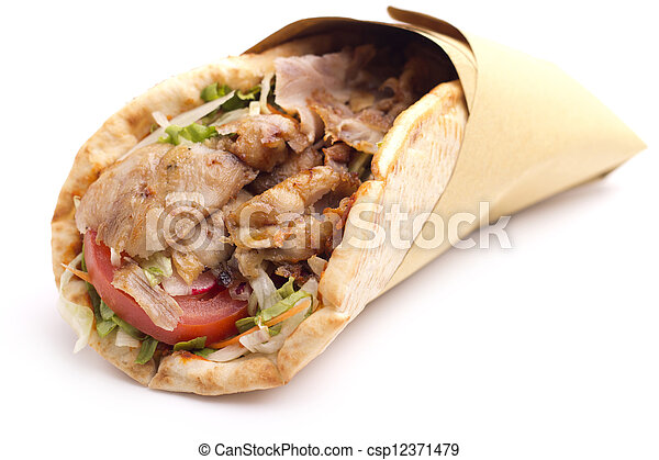 close up of kebab sandwich on white background - csp12371479