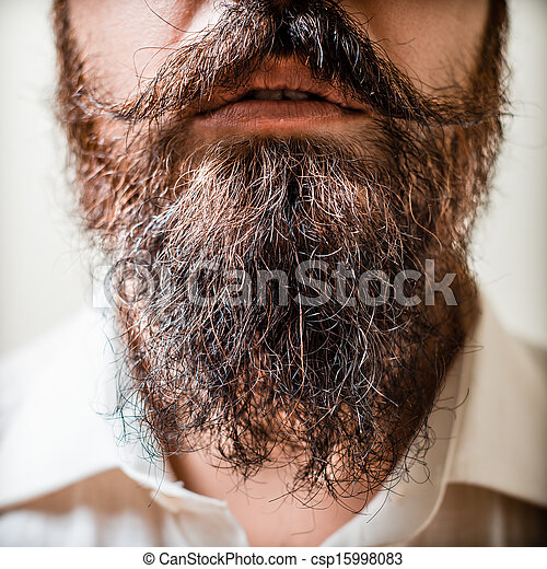 Close up of long beard and mustache man - csp15998083