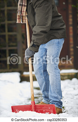 Close Up Of Man Clearing Snow From Path - csp33280353
