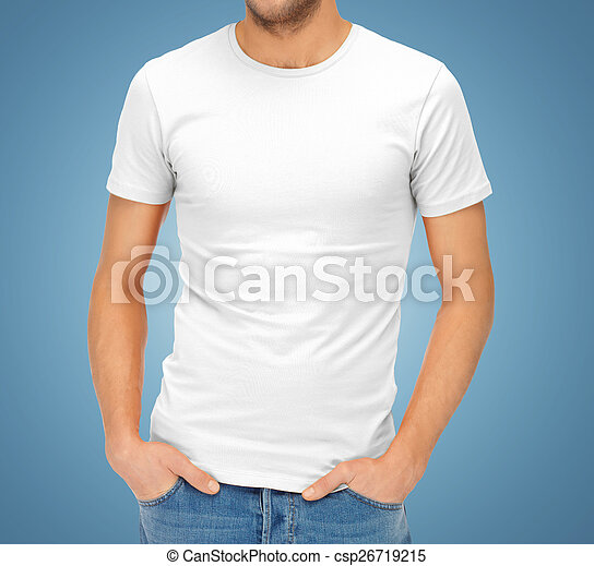 close up of man in blank white t-shirt - csp26719215