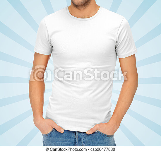 close up of man in blank white t-shirt - csp26477830