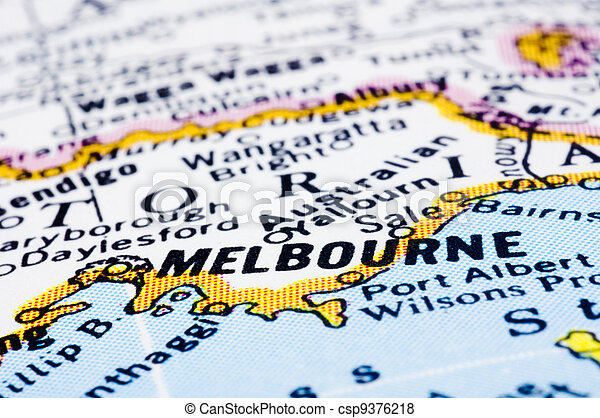 close up of melbourne on map, Australia - csp9376218