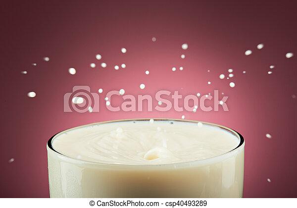 close up of milk splashes - csp40493289