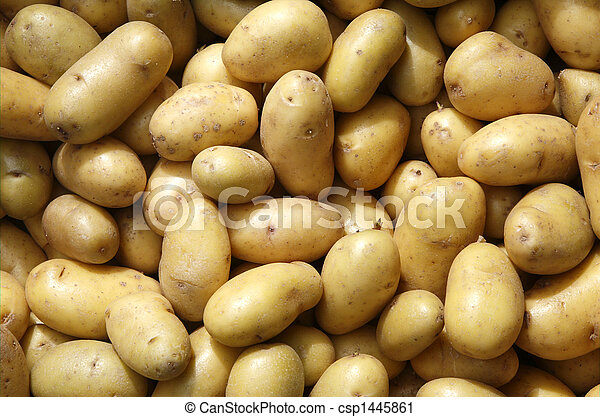 Close up of new potatoes outside a greengrocers. - csp1445861
