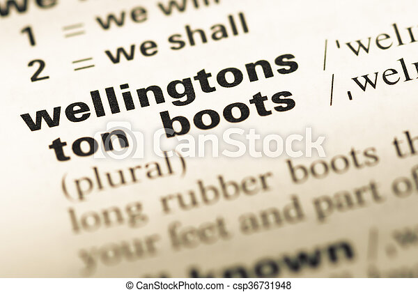 Close up of old English dictionary page with word wellingtons - csp36731948