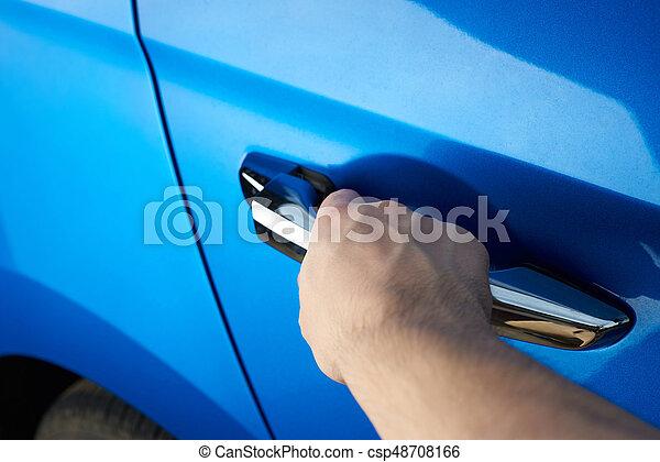 Car door handle hand Interior Door Closeup Of Opening Car Door Csp48708166 Can Stock Photo Closeup Of Opening Car Door Hand Hold Car Handle