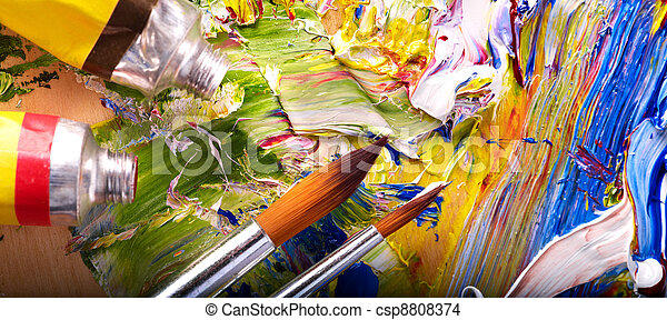 Close up of  paint mixed on  palette. - csp8808374