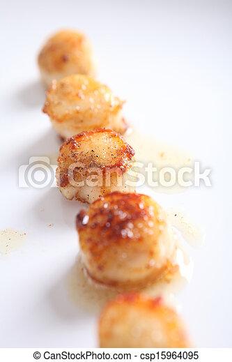 close up of pan seared sea scallops - csp15964095