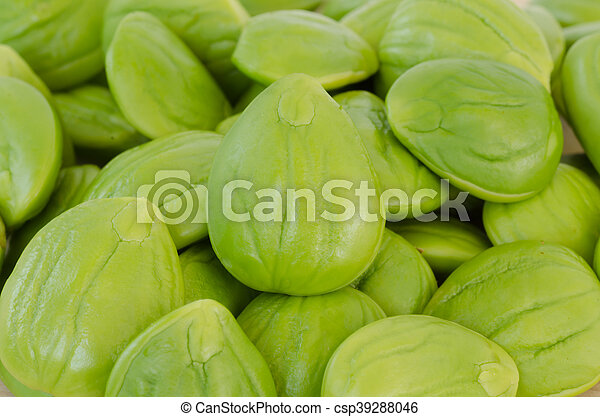 close up of Parkia speciosa beans food background - csp39288046