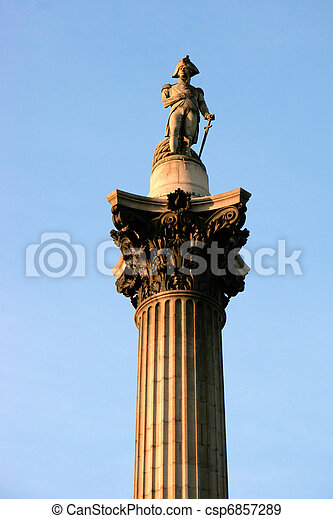 Close-up of part of Nelson's column in Trafalgar Square London - csp6857289