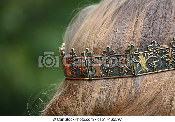 Close up of person with medieval crown - csp17465597