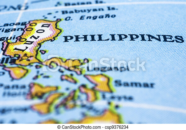close up of philippines on map - csp9376234